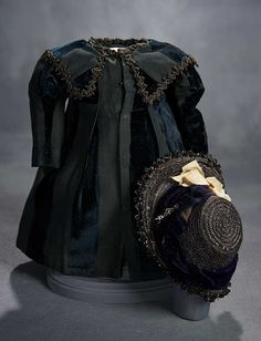 """What Finespun Threads"" - Antique Doll Costumes, 1840-1925 - March 12, 2017: 237 Black Velvet and Silk Faille Dress with Woven Black Straw Bonnet"