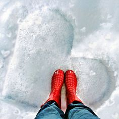 Snow Heart and Red Galoshes- winter photos