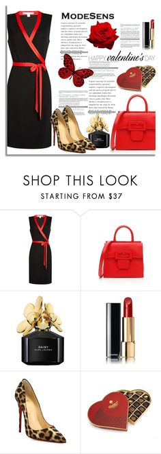 """Happy Valentine's Day from Modesens"" by modesens ❤ liked on Polyvore featuring Diane Von Furstenberg, Maison Margiela, Marc Jacobs, Chanel, Christian Louboutin and Charbonnel et Walker"