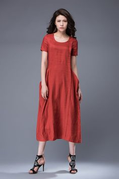 Linen Dress Rusty Red Semi-Fitted Casual Comfortable by YL1dress