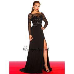 Black Beaded Bodice Long Prom Dress With Long Sleeve
