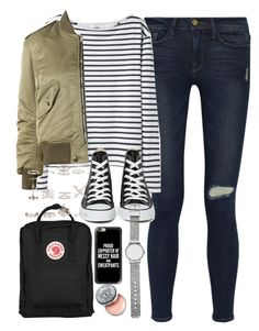 """""""Outfit for college with a Fjallraven Kanken backpack"""" by ferned on Polyvore featuring Frame Denim, Wood Wood, Yves Saint Laurent, Fjällräven, Converse, New Look, Casetify, Witchery and Bobbi Brown Cosmetics"""