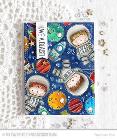 4 Feb 2017 : Rejoicing Crafts : I started by stamping all images from the Space Explorer set on watercolour paper panel in pigment black ink – I used the Mini MISTI stamping tool. I then coloured them with Peerless watercolors and water brush. I used Faded Jeans Distress ink for the dark blue background.