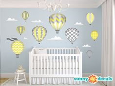 Jumbo Hot Air Balloons Fabric Wall Decals for Kids and Babies, 9 Oversized Air Balloons with Clouds for Kids Rooms & Nursery by Sunny Decals...