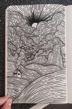 Arte digital, abstract drawings, ink pen art, ink pen drawings, brush pen a Ink Pen Art, Cool Art Drawings, Pencil Art Drawings, Art Drawings Sketches, Brush Pen Art, Abstract Drawings, Drawing Ideas, Tombow Brush Pen, Doodle Art Drawing