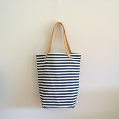 Striped Tokyo Tote - Navy Blue and White Horizontal Stripe - Natural Leather Straps Navy Blue, Blue And White, Striped Tote Bags, Natural Leather, Purses And Bags, Stripes, Fabric, Tokyo, Pouch