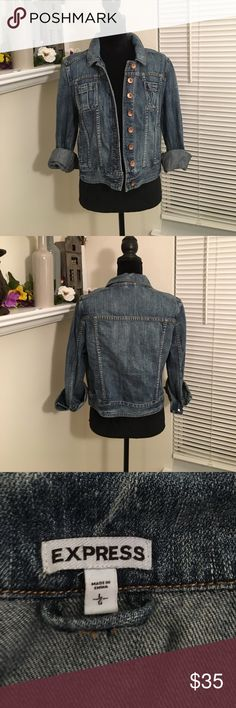 Express denim jacket Medium blue denim jacket from Express. Copper color buttons on the body and sleeves. Patch pockets on the chest and slant pockets at the hip. 100% cotton Express Jackets & Coats Jean Jackets