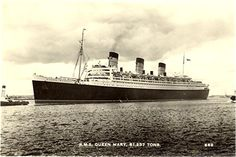 Old Postcard, RMS Queen Mary