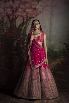 Bridal Lehenga Designs - Latest Trends in Lehengas Designer Bridal Lehenga, Indian Bridal Lehenga, Indian Bridal Outfits, Indian Bridal Wear, Indian Dresses, Bridal Dresses, Pink Bridal Lehenga, Wedding Lehnga, Bride Indian