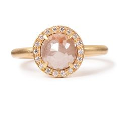 Rebecca Overmann Rose-Cut Diamond Ring with Halo | Greenwich Jewelers