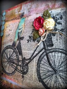 Paper background with bird, bicycle and rose basket