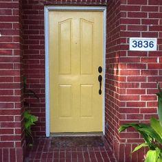 I LOVE my yellow front door!  (Martha Stewart:  pencil) :-)