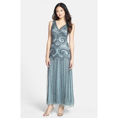 Women's Pisarro Nights Beaded Mesh Gown