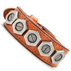 R&B Schmuck Lederarmband Herren Armband Leder Sexy Handwerker Style mit Schrauben (Braun): 13,90€