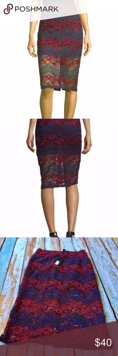 """BNWT Romeo & Juliet Couture Lace Pencil Skirt Romeo & Juliet Couture lace overlay skirt. Approx. 29""""L from waist to hem. Red and Blue Lace. Natural rise. Pencil silhouette. Straight illusion hem. Back zip. Cotton/nylon/viscose. Lining, polyester. Hand wash. Imported. Romeo & Juliet Couture Skirts Pencil"""
