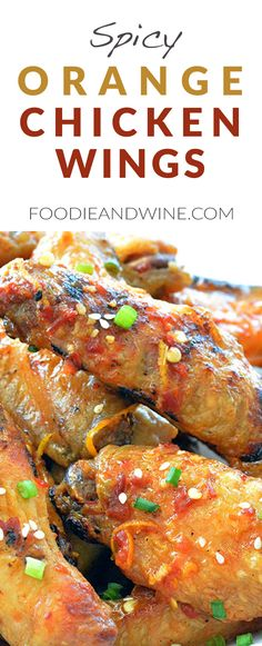 Spicy Orange Chicken Wings Recipe! Loaded with natural orange flavor and asian spices. These chicken wings can be grilled or baked! Perfect appetizer recipe for your summer barbecue. View more chicken wings recipes at FoodieandWine.com (Canes Chicken Tenders)