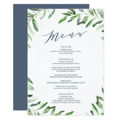 Secret Garden Wedding Dinner Menu  Navy Card