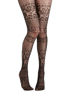 ModCloth Blissful Thinking Tights - Black, Solid, Film Noir, Pinup, Vintage Inspired, French / Victorian, Boudoir, Sheer, Knit, Lace