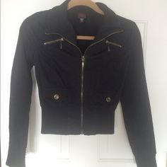 2Bebe black cropped jacket 2Bebe super cute cotton blend cropped jacket. Has Gold zipper and accents. Size small. Some pilling on cuffs as seen. bebe Jackets & Coats