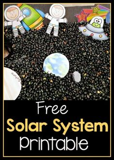 Free solar system printable for sensory bins, play dough or pretend play. A fun addition to a solar system theme!Kids will enjoy these free Solar System printables for use with sensory bins or play dough! Not only do the little kids enjoy this free printa Space Theme Preschool, Space Theme Classroom, Preschool Science, Science Activities, Solar System Activities, Solar System Crafts, Kids Solar System Projects, Planets Preschool, Kindergarten Sensory