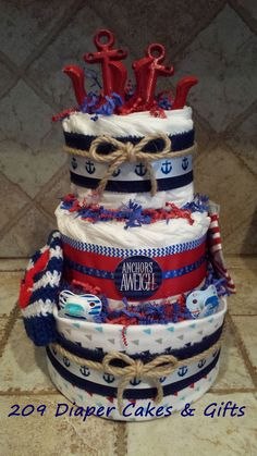 Blue & Red Nautical Diaper Cake for Baby Boy by 209 Diaper Cakes & Gifts