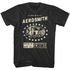675d165c3 Aerosmith Live Rock Out Tour 1974 Boston Music Hall Men's T Shirt  #aerosmith #steventyler