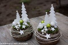 Christmas trees in mini terra cotta pots Christmas Makes, Noel Christmas, Diy Christmas Ornaments, Christmas Design, Homemade Christmas, Rustic Christmas, All Things Christmas, Christmas Wreaths, Christmas Centerpieces