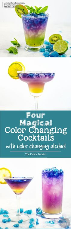 Magical Color Changing Cocktails (Galaxy Cocktails) - Four incredible Magical Cocktails to make and be inspired to make your own! Wow your friends and family with these fun and unique cocktails made with color changing alcohol. via @theflavorbender