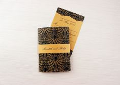 Gold and Black Elegant Wedding Invitation with Gold Belly Band