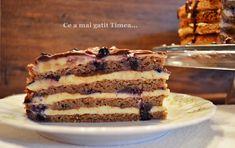 Tort cu nuca crema de vanilie si afine - Retete Timea Romanian Desserts, Food Cakes, Food Festival, Something Sweet, Tiramisu, Cake Recipes, Sweet Treats, Cheesecake, Food And Drink