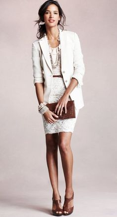 White on white office: off-white skirt, shirt, jacket, bracelets, necklace - with chocolate brown heels, belt and clutch.