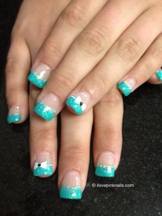 Turquoise French and Bow Nails