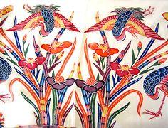 NAKAYA - Makie - Ryukyu Bingata Textile Patterns, Textile Design, Print Patterns, Japanese Textiles, Japanese Kimono, Indigo Prints, Kimono Pattern, Modern Prints, Okinawa