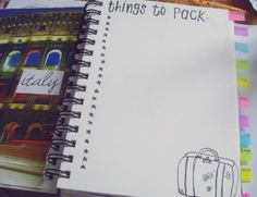 Travel journal - things to pack