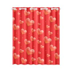 Red Hearts Valentine I Love You Window Curtain 52