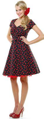 Heartbreaker 50's Style Black Cherry Aimee Pin Up Dress - XS-2X