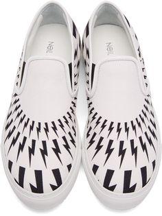 Neil Barrett - White & Black Thunderbolt Slip-On Sneakers