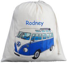 Personalised VW Split Screen Camper Van Large Drawstring Bag - Blue