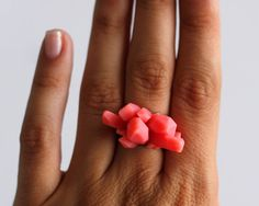 Crystal Cluster Ring  Peachy Pink by songdancedesign on Etsy