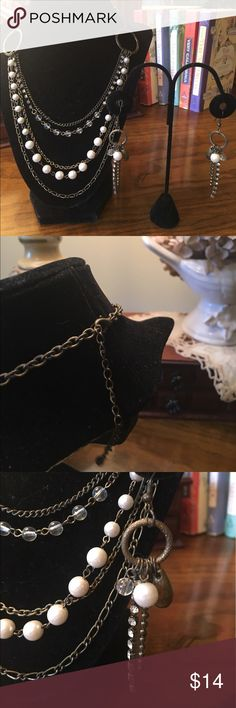 """Brass Pearls & Chains Necklace and Earrings Beautiful brass tone mix of chains, pearls and rhinestones in an adjustable approx 18-22"""" necklace. Matching fish hook earrings. Hang approx 3 1/2"""". Jewelry Necklaces"""
