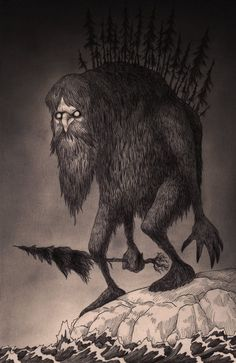 John kenn - Illustration - Monster - Man in the mountain.