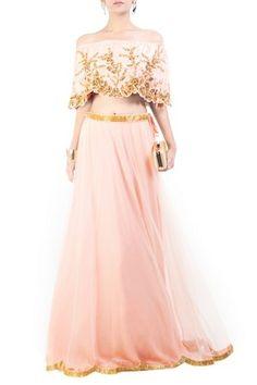 Blush Pink, Gilded Cape Lehenga by Anushree Agarwal, Lehengas