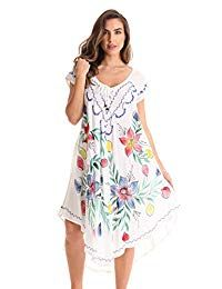 Riviera Sun Short Sleeve Summer Dress with Floral Hand Painted Design Womens Fashion Stores, Fashion Sale, Fashion 101, Fashion Advice, Fashion Stylist, Summer Dresses, Women's Dresses, Floral Tops, Clothing Websites