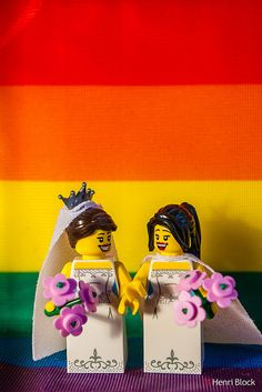 Lego gay pride. If Courtney and I get married one day, this will be our topper.