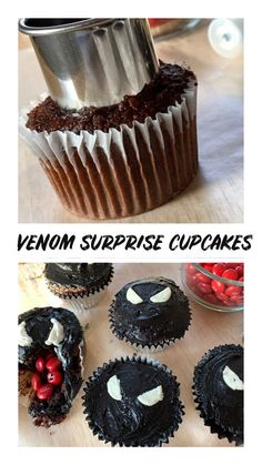 Marvel Venom Cupcakes with surprise filling Marvel Venom Cupcakes with surprise filling Andrea Updyke Everyday Magic AndreaUpdyke Entertainment Info Marvel fans get ready to make these easy nbsp hellip videos wallpaper Marvel Cupcakes, Avenger Cupcakes, Filled Cupcakes, Fun Cupcakes, Cupcake Cakes, Spiderman Birthday Cake, Avengers Birthday, Wallpaper Marvel, Birthday Party Snacks