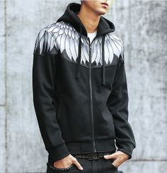 Mens Zipper Hoodie with Feaher Prints on Shoulder