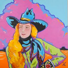 Nevada artist Dan Howard  Acrylic on canvas  This cowgirl portrait is in signature wild colorwith hues oflavender, pink, blue, chartreuse & orangeframinga well dressed,pretty gal.  luckystargallery.com $795