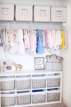 Declutter, organize and UNclutter the nursery closet without feeling overwhelmed or making decluttering mistakes - baby closet clutter solutions for realistic baby clutter control Baby Room Storage, Nursery Closet Organization, Baby Closet Organization, Baby Clothes Storage, Nursery Storage, Organization Hacks, Baby Nursery Closet, Baby Room Diy, Baby Nursery Neutral