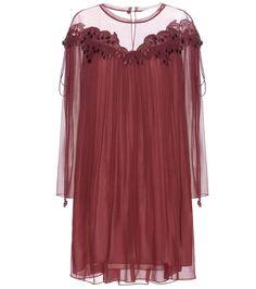 Plum lace-trimmed silk dress