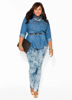 Denim Shirt, Distressed Jeans with Black and Gold Belt and Clutch & Gold Accessories